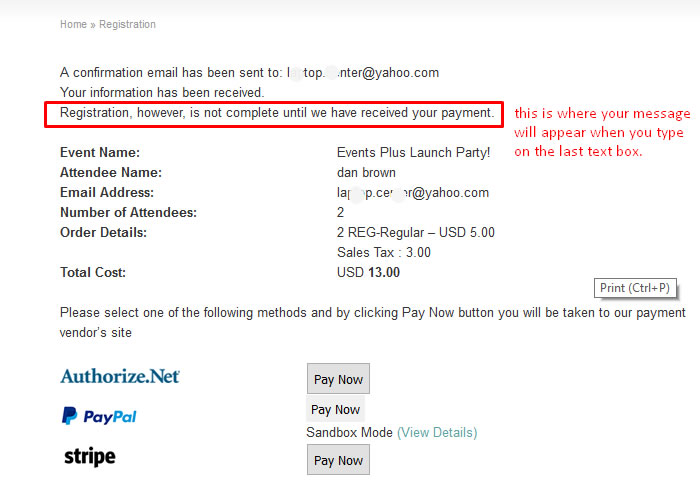 wordpress event confirmation message during checkout