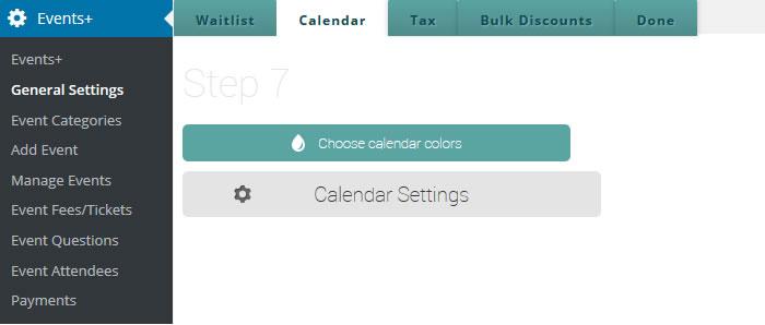 wordpress events calendar settings