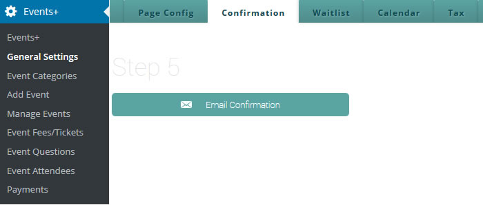 wordpress event email confirmation