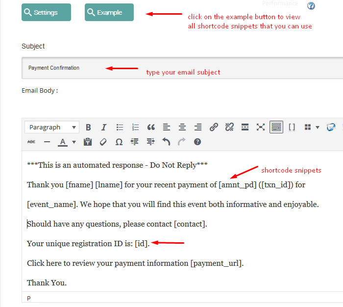 wordpress event payment email