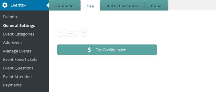 event calendar tax configuration