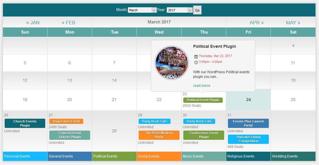 Calendar Shortcode for Events - Events Plus Documentation