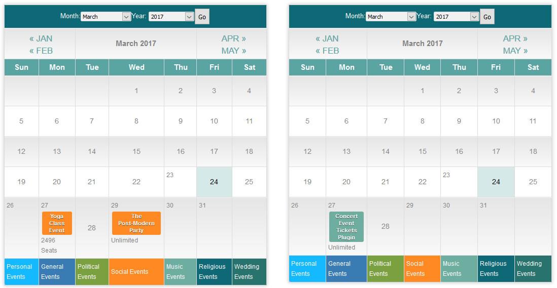 multiple calendars shortcode