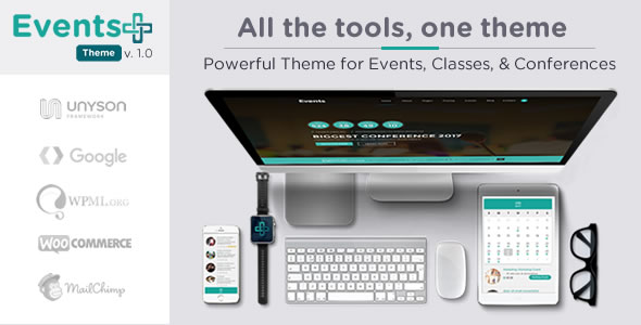 WordPress events theme for classes, seminars, concerts, and more