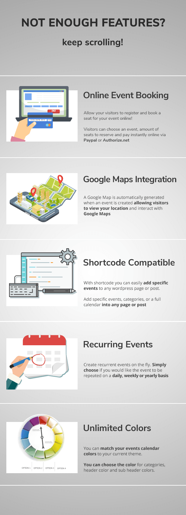 wordpress events plugin features